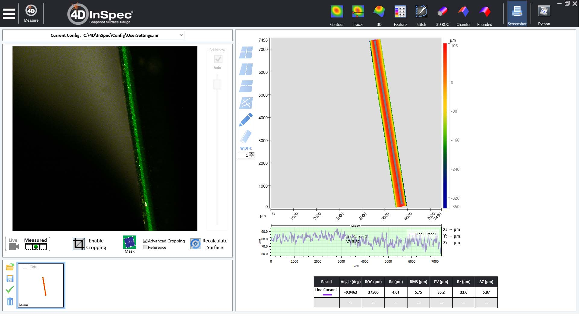 Cropped data calculates surface parameters based only on the data remaining.