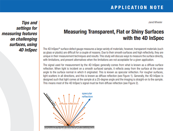 4D InSpec Application Note: Measuring Transparent, Flat or Shiny Surfaces