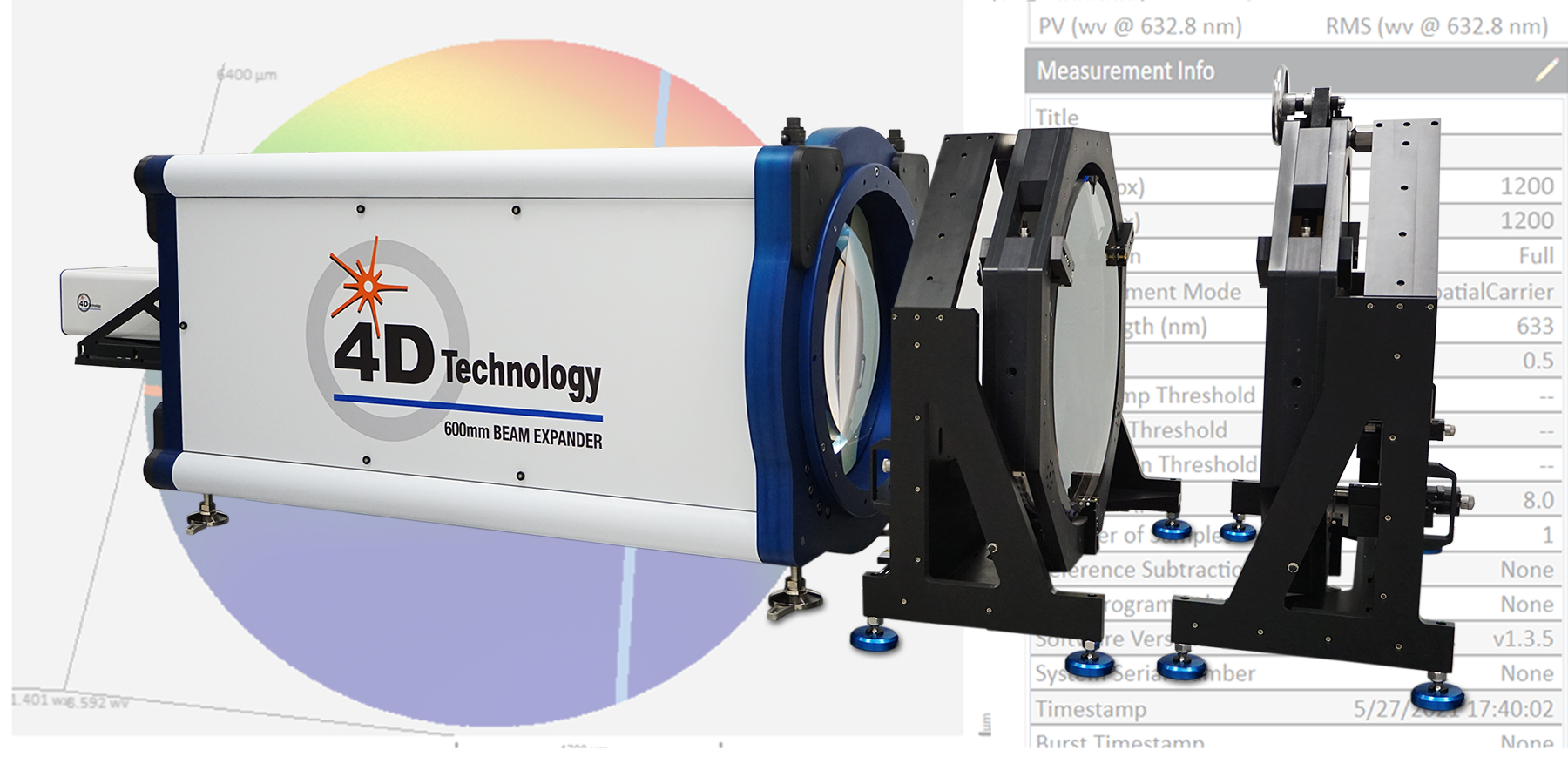 4D Technology AccuFiz 600 mm Beam Expander and Mounts