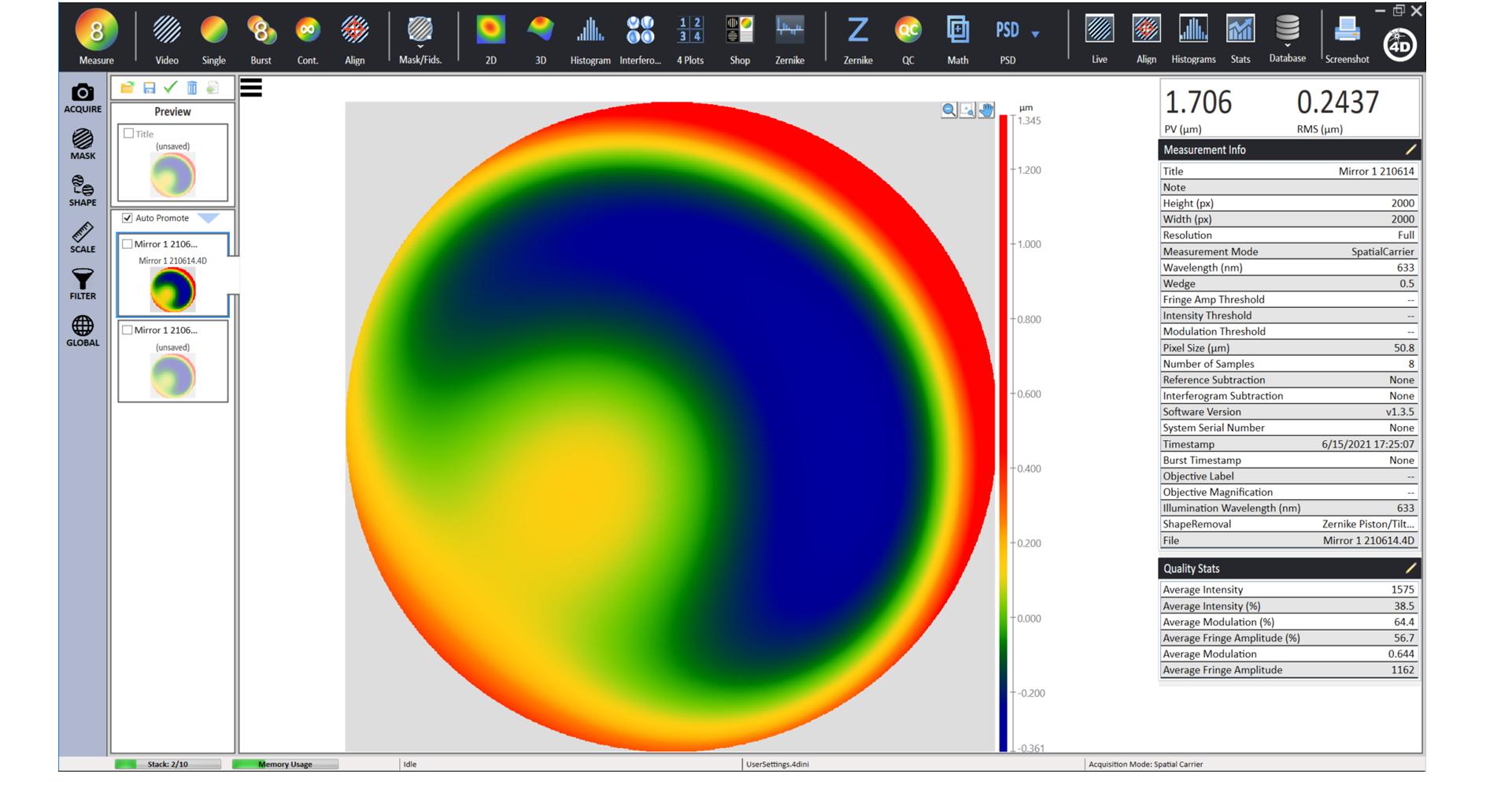 4Sight Focus Inteferometer Analysis Software