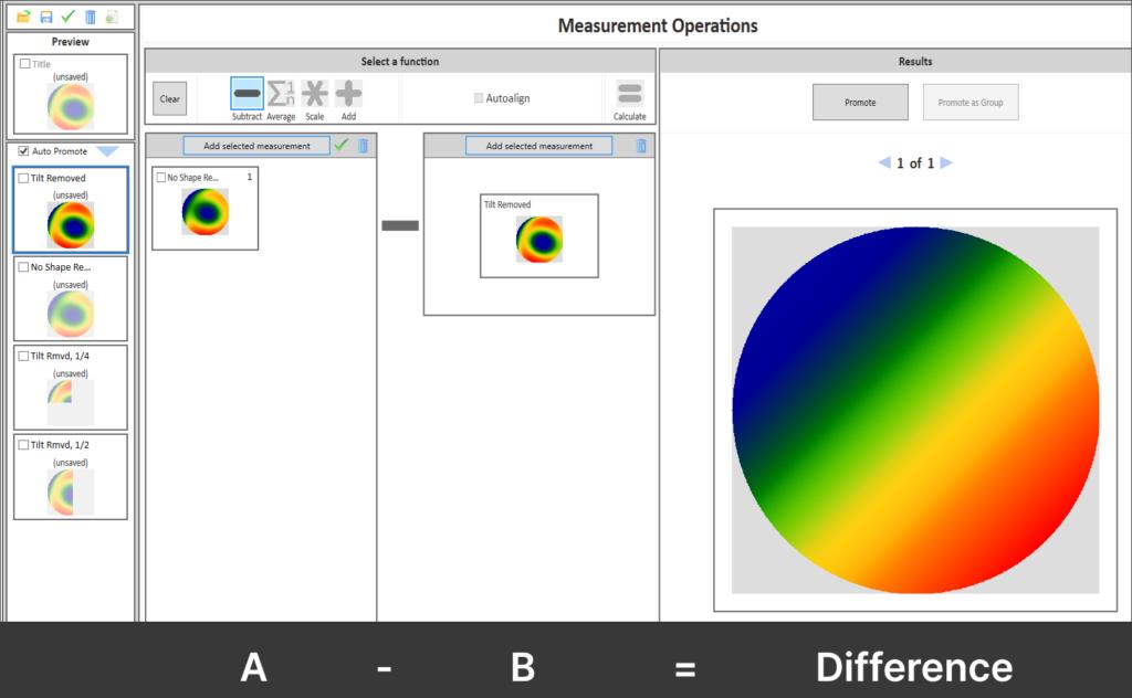 Interferometer Analysis Software - 4Sight Focus Dataset Subtraction